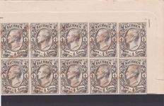 German States 1855/60 - King John I - 1/2 ng - a block of 10 - print proof with attest