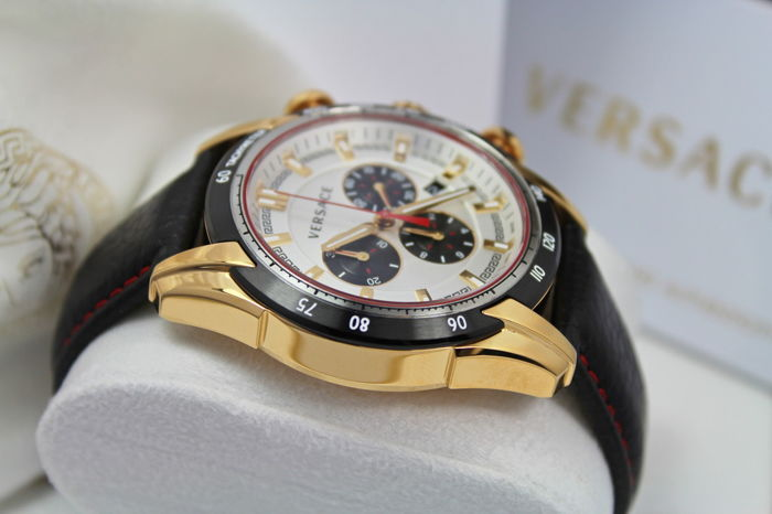 Versace V Mens Ray Swiss Made Chronograph Watch nieuwe & Mint conditie