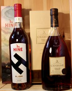 2 Top Cognac: H by HINE VSOP incl. limited original box + Chabasse VSOP Cognac incl. original box, 2 bottles - 2x700ml, 40% Alc