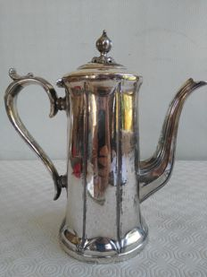 Large silver plated teapot for warm water, Cartwright & Son, 1850