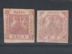 Naples, 1858 – 1 gr. stamp, carmine, and 2 gr. stamp, light pink (Sassone nos. 4 + 5c)
