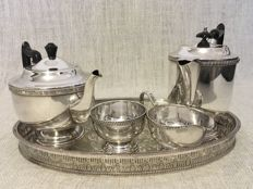 Vintage Viners Sheffield  England silver plated tea & coffee set with oval tray