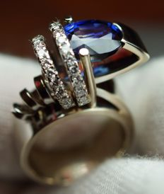 Gold Ring - 15.00 gr. with Sapphire - 4.20 сt. and Diamonds - 0.83 ct., Size: 54