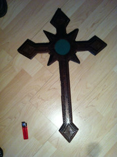 Tramp Art Wooden Carved Cross