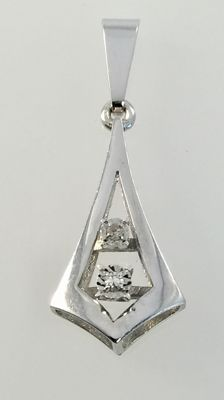 White gold pendant with two white sapphires.