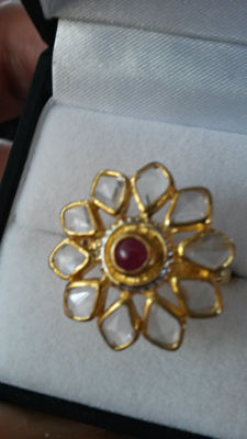 Stunning and unique design 3.14cts Ratnapuri Ruby (blood red) with fancy white topaz coctail ring.