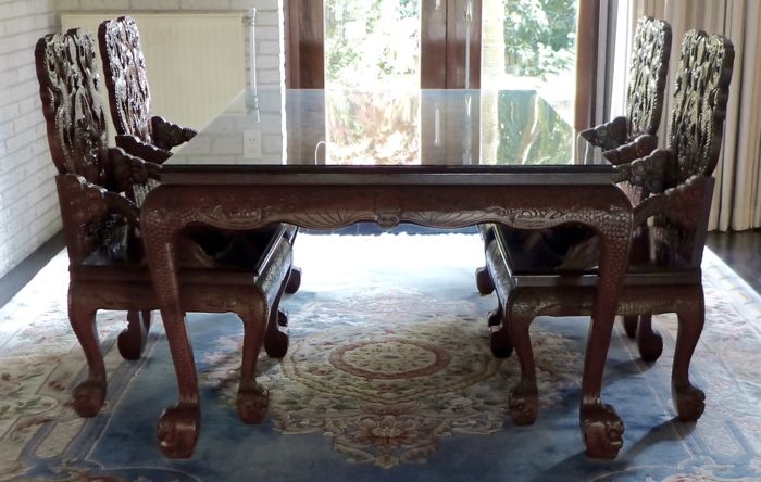 auctions - Catawiki & Chinese dining table and matching seats set \u2013 China \u2013 2nd half 20th century - Catawiki