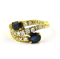 Sapphires (Tot. 1.50-1.80ct) & Diamonds (0.45ct GH/VS2-SI1) set on 18karat Yellow Gold Ring - E.U Size 57 (resizable)