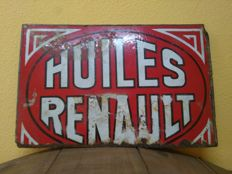 Renault - Rare original HUILES RENAULT enamel sign, 1940, heavy sheet metal - France - 54 x 34 cm