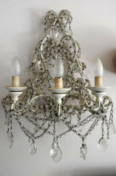 Large glass white wall lamp with three light spots