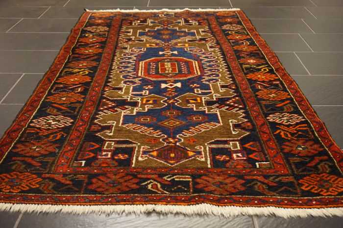 Rare beautiful semi-antique hand-knotted Persian carpet – Hamadan Malayer – plant colours – 110 x 200 cm