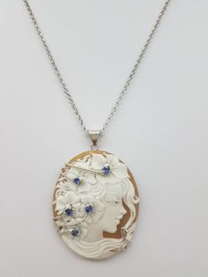Necklace with Torre del Greco cameo in 925 silver with sapphires – 46.5-48.5 cm