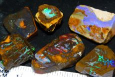 Rough/Slabbed Koroit/Boulder Opal Parcel - Green/Blue Fires - 97.50ct