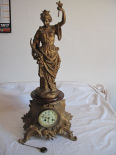 Large antique French table clock with eight-day movement - 1900