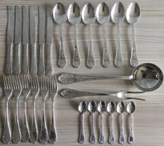 Silver plated 6-person 26-piece flatware set ARG 800 Italy, ca. 1950