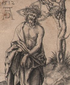 Albrecht Dürer ( 1471-1528 ) after  - Christ as the Man of Sorrows with hands bound - 1520