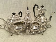 "Vintage silver plated tea , coffee & hot water set on oval tray "" Viners Sheffield England"" / Birks of England"
