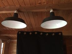 Unknown Designer - Pair of industrial ceiling lights