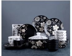 Japanese-style tableware with plants patterns - 26 items