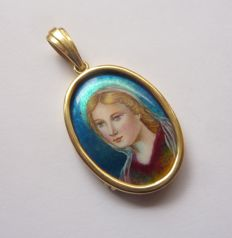 Gold Pendant with Enamel of Virgin Image
