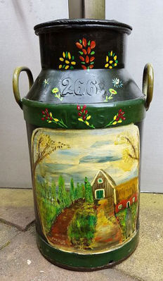 Antique, painted, large milk churn - early 20th century - the Netherlands