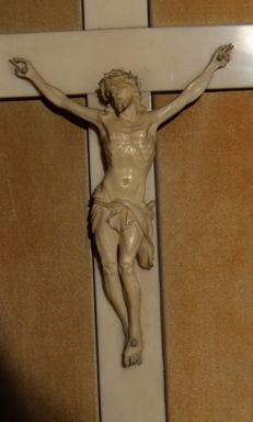 A carved ivory crucifix - probably Italy - early 20th century