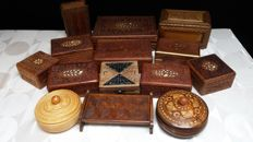 Collection beautiful wood carved jewelry boxes
