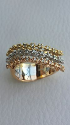 Very fine 3-in-1 ring in white, yellow and rose gold with diamonds totalling 0.36 ct – size: 17 mm