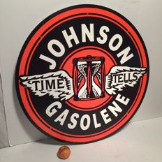 Johnson Gasolene heavy metal sign of no less than 71 cm large around - USA - Late 20th century, early 21st century