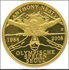 "Surinam - 20 Dollars 2008 - ""Anthony Nesty"" Seoul 1988"
