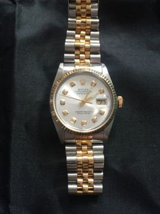 Rolex Mens Bi-Metal Datejust 2 tone with paper work Champagne Diamond Dot Dial and Jubilee Bracelet 16013