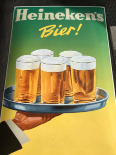 Magnificent enamel Heineken Beer advertising sign 60 x 40 cm - Netherlands - 2nd half of the 20th century