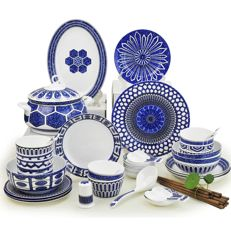 Chinese style tableware (blue patterns) - 56 items