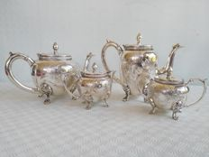 Beautiful 4-piece silver plated tea set richly decorated, EPNS