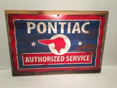 Pontiac Authorized Service Corrugated Metal Sign on Barn Wood - USA  2016 Limited