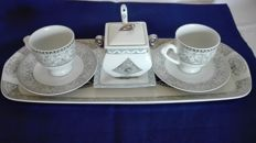 Coffee set for two in hand decorated Limoges porcelain