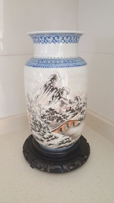 Porcelain vase with winter decoration – China – second half 20th century