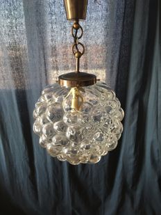 "Unknown designer – Vintage hanging lamp, ""bubble glass"""