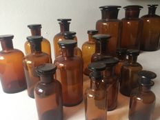 Lot of 23 Brown / green glass apothecary jars