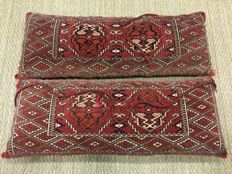 2 antique cushions, joval wool carpet, Turkoman origin, dimensions 100 x 40 cm
