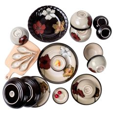 Chinese style stoneware tableware (colorful patterns) - 20 items