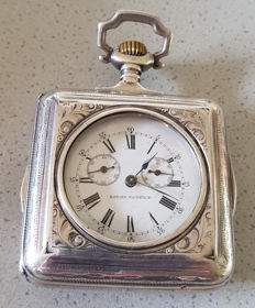 17. LOEHR - square silver pocket watch with first automatic winding - Lepine circa 1880