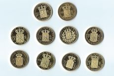 The Netherlands – Various replicas of Dutch coins (10 pieces) – gold-plated silver