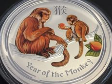Australia - 1 AUD - 1 piece 999 silver coin - Lunar year of the monkey - colour edition