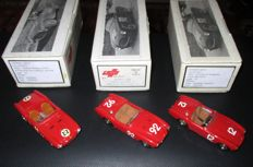 Gamma Models - Scala 1/43 - Lot with 3 models: 3 x Ferrari 225S Sport Barchetta 1952/1955 various races