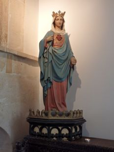 Large polychrome church statue 'Mary Sacred Heart' on pedestal - Brussels, Belgium - approx. 1900-20