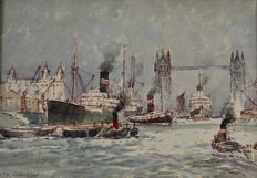 Ernest Harington (19th/20th century) - Merchant shipping in the Pool of London