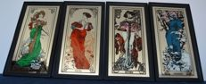 "Large Mirrors ""As Quatro Estações"" Alphonse Mucha - Art Nouveau - Four Glass Paintings. 2ª Half 20th Century"