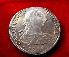 Spain – Carlos III (1759–1788), 8 reales silver coin – 1786 – Mexico. F M.