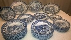 English ceramic dinner set for 12 complete with serving dishes mid 20th century - UK